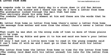 johnny song a letter from home lyrics