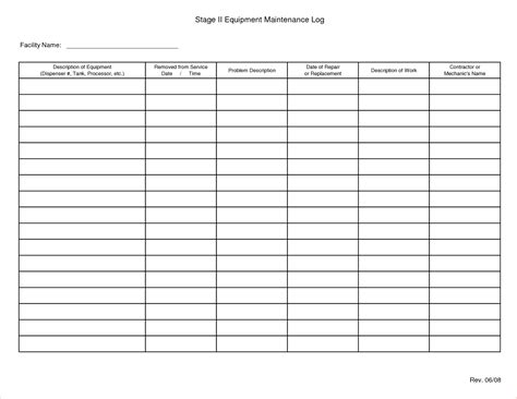 service record template preventive maintenance log sheet related keywords