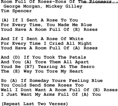 room of lyrics country room of roses sons of the pioneers lyrics and chords