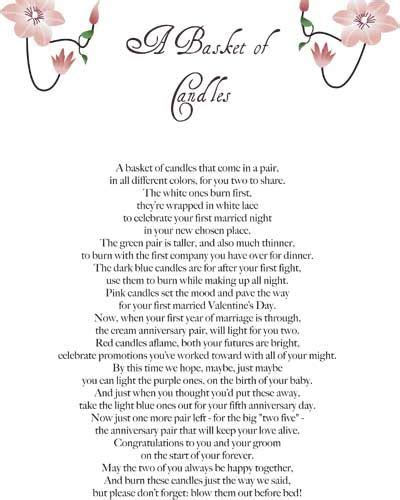 Bridal Shower Poem by Diy Wedding Candle Basket Ideas On Bridal