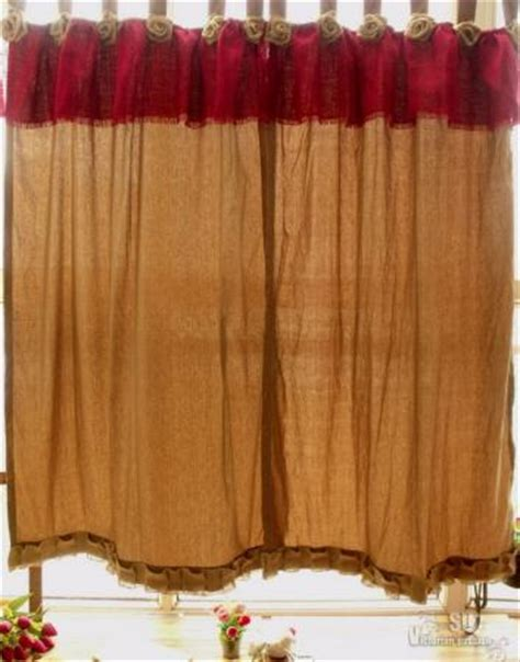 red burlap curtains rosettes red shabby french country chic burlap ruffles