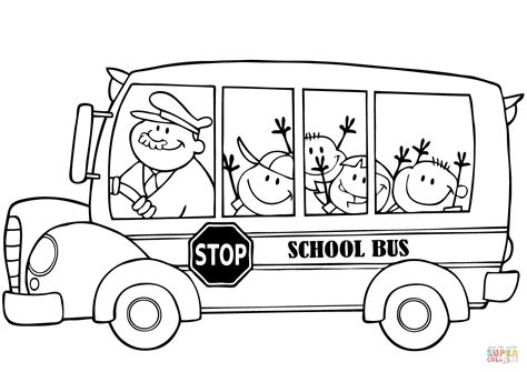 free printable coloring pages school bus school bus with happy children coloring page free