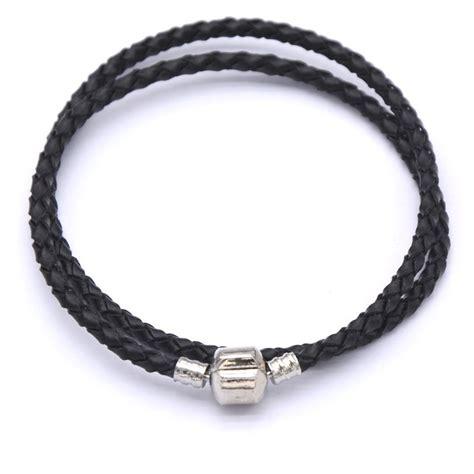 2015 mens bracelets genuine leather woven silver barrel