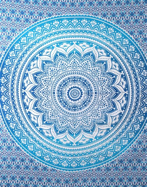 blue patterned wall tapestry turquosie tapestry cheap tapestry mandala tapestry
