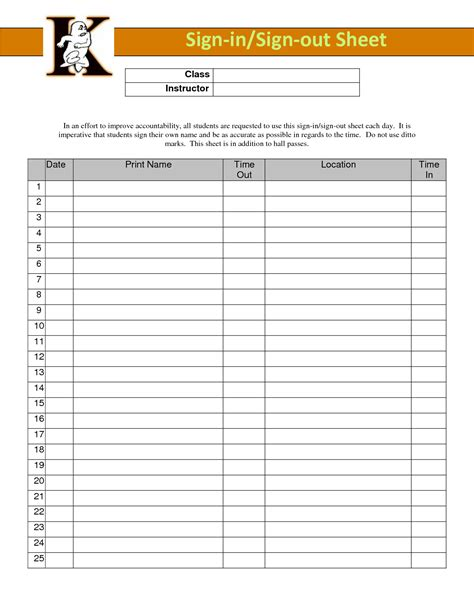best photos of classroom sign out sheet classroom sign