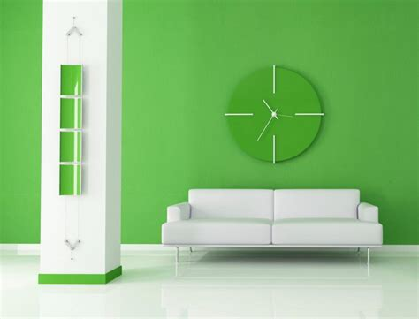 green wall paint stunning living room design with cloc set on green wall