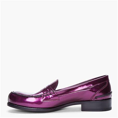 purple loafers for jil sander metallic purple patent loafers