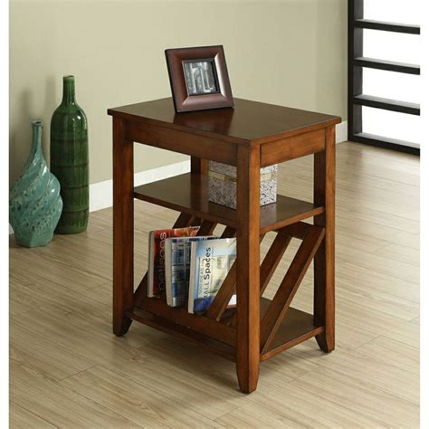 End Tables With Drawers And Magazine Rack by Furniture Of America Antique Oak 1 Drawer Magazine Rack