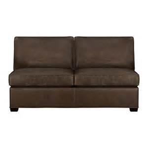 davis leather armless sleeper sofa cashew crate