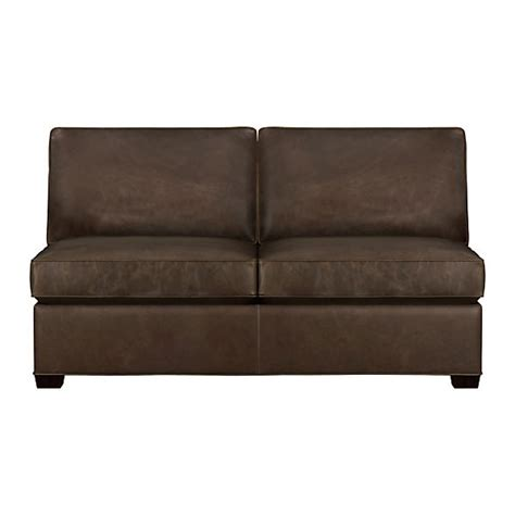 armless loveseats davis leather armless loveseat cashew crate and barrel