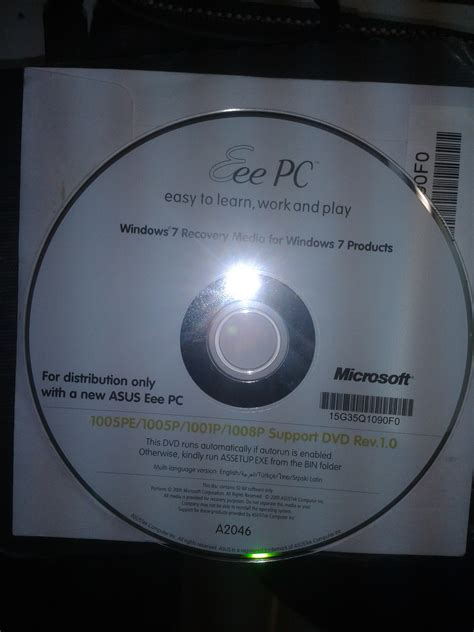 Disk Netbook Asus recovery dvd asus eee pc 1005pxd windows 7 starter