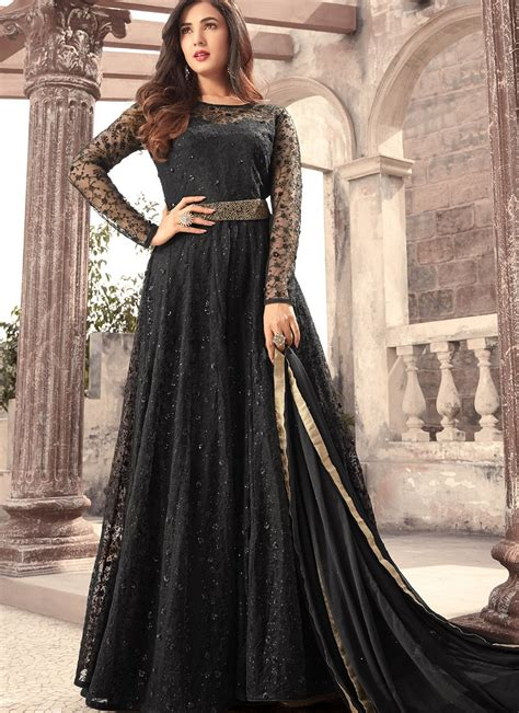 sonal chauhan designer suits sonal chauhan black net designer long anarkali suit 5207
