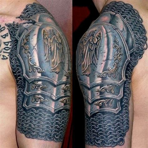 impressive knight armor tattoo on shoulder photos