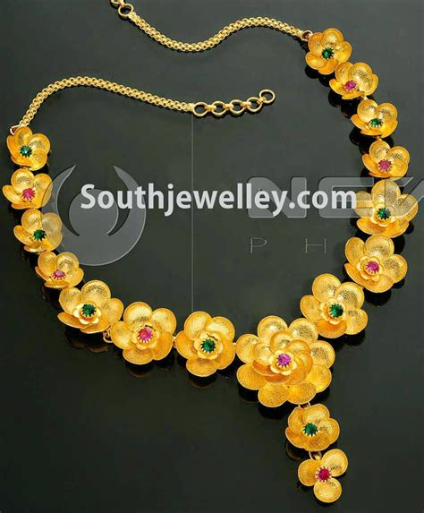 flower design necklace floral gold necklace jewellery designs