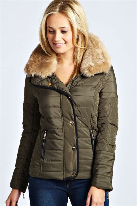 Faux Fur Collar Padded Jacket boohoo womens cara faux fur collar padded jacket ebay