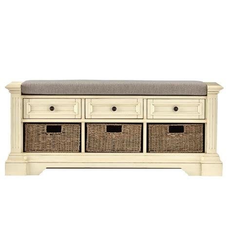 Home Decorators Bench by Home Decorators Collection Bufford Antique Ivory Storage Bench 9635800440 The Home Depot