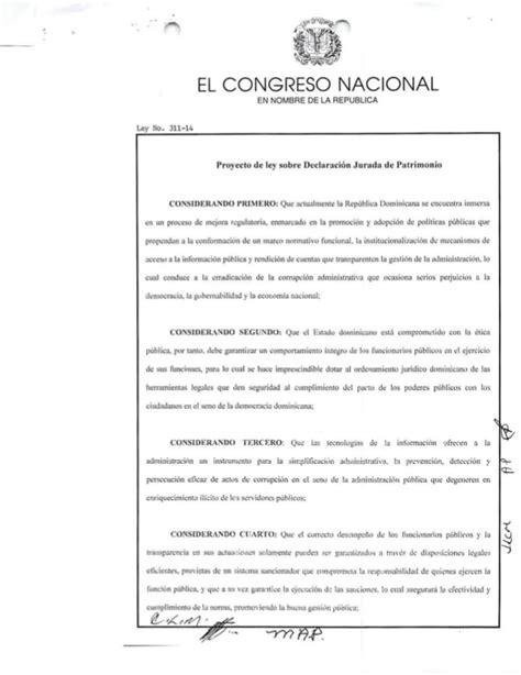 ley sobre topes declaracion 2016 ley 311 14 sobre declaracion juarada de patrimonio