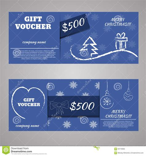 business card voucher template blue and new year gift voucher certificate