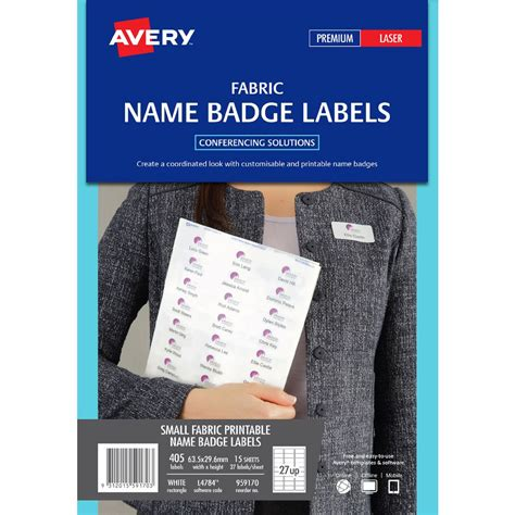avery printable fabric laser printer avery fabric laser name badge labels 15 sheets 27 per page