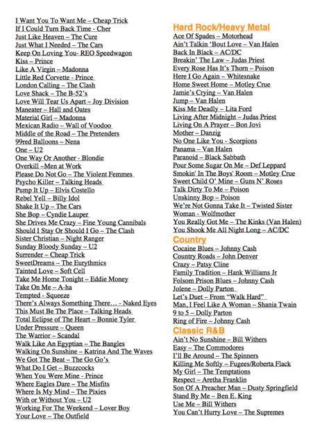 karaoke song list paul    practice