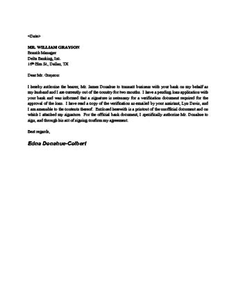 authorization letter for bank settlement sle bank letter to remove signature authorization