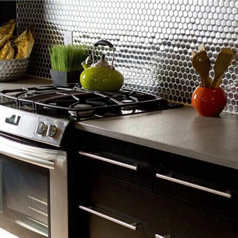 stainless steel backsplash penny round tile modern fashion