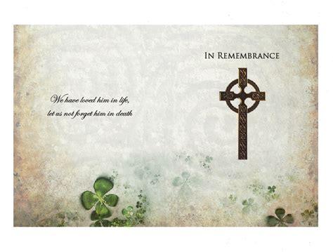 celtic funeral card free templates celtic memorial card harvest memorial cards