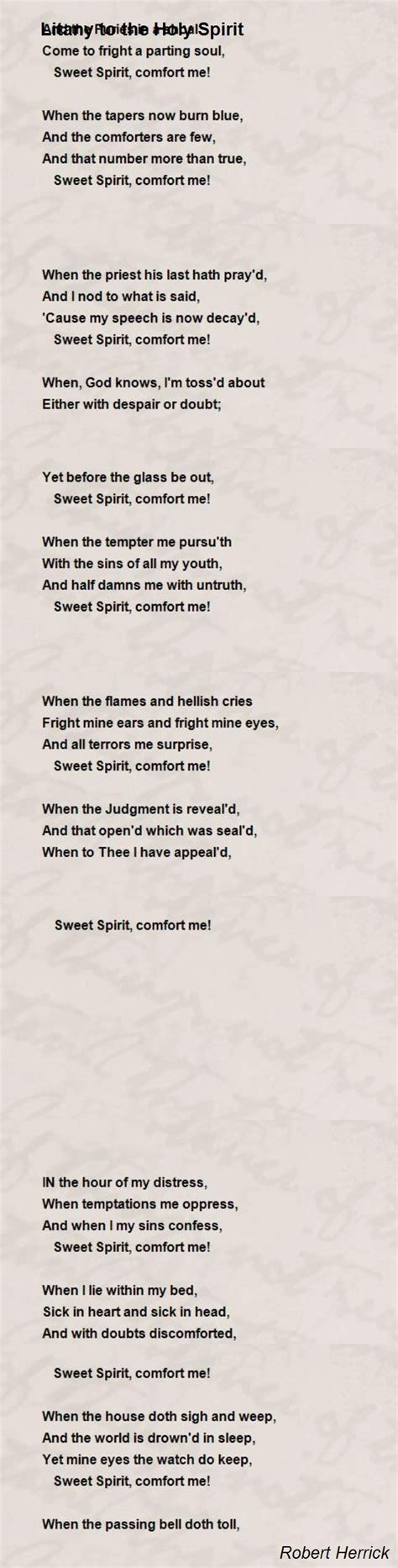 holy spirit sweet comfort to my soul litany to the holy spirit poem by robert herrick poem hunter