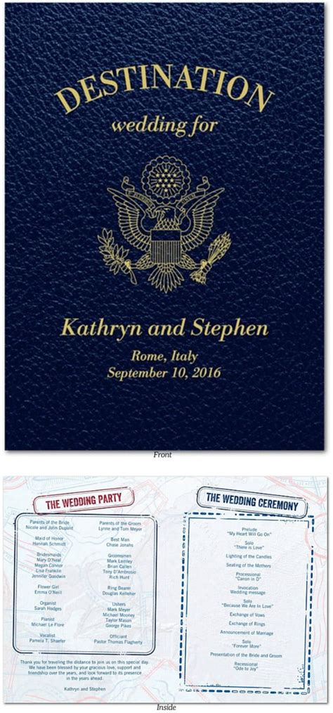 passport wedding program template passport wedding program template image collections