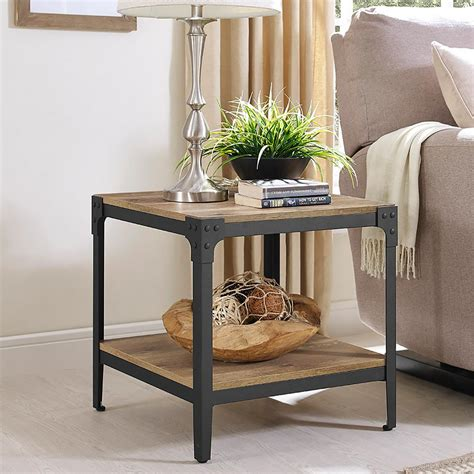 Ideas For Chairside Tables Design Walker Edison Furniture Company Angle Iron Barnwood End Table Set Of 2 Hd20aistbw The Home Depot