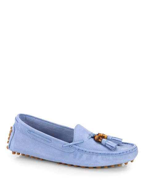 gucci blue suede loafers lyst gucci suede tassel driving loafers in blue