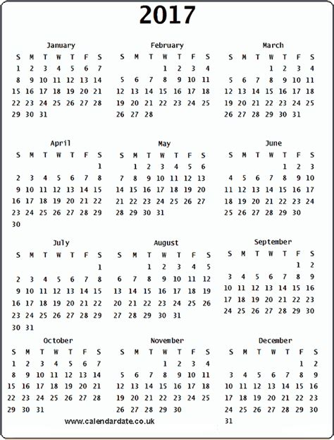 printable yearly calendar 2017 uk 2017 calendar