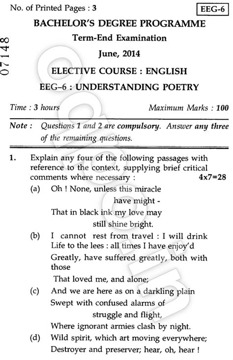 Ignou Mba Question Papers June 2014 by Ignou Eeg 06 Understanding Poetry Question Paper June 2014