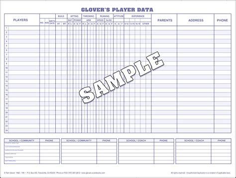 Basketball Card Stats Template by Baseball Player Data Printable Basketball Score Sheet