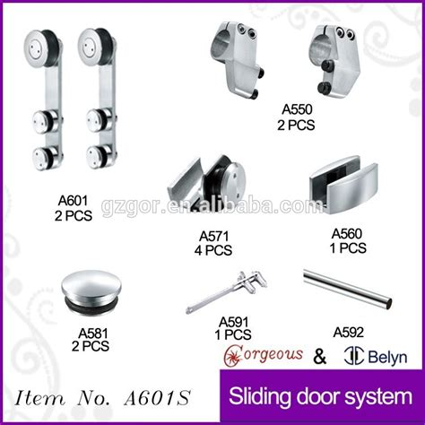 Shower Door Accessories Sliding Frameless Sliding Glass Shower Door Hardware Bathroom Semi Frameless Glass Shower Sliding Door
