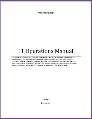 it operations manual template the higher ed ciothe