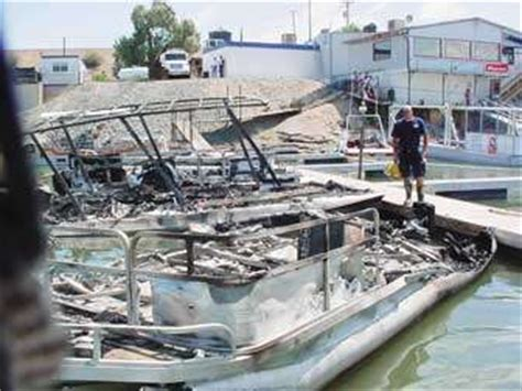 boat crash topock az fire destroys boats explosion sparks blaze at topock