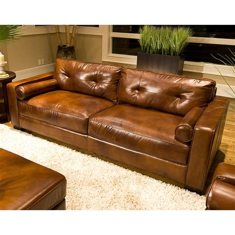 soho top grain leather sofa in rustic brown dcg stores
