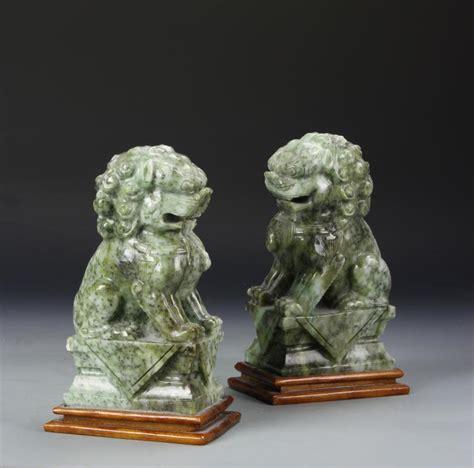 ams sugar set 354 antique jades pair of chinese jade foo lions