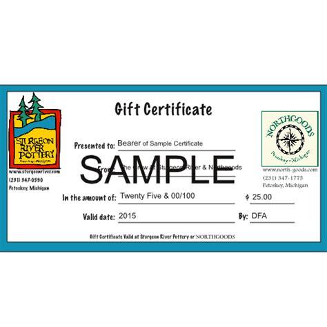 gift certificate  shipping sturgeon river pottery petoskey michigan