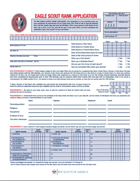 boy scout form new eagle scout rank application 171 crescent bay district
