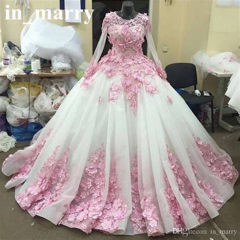 Pink 3d Floral Ball Gown Wedding Dresses 2017 Muslim