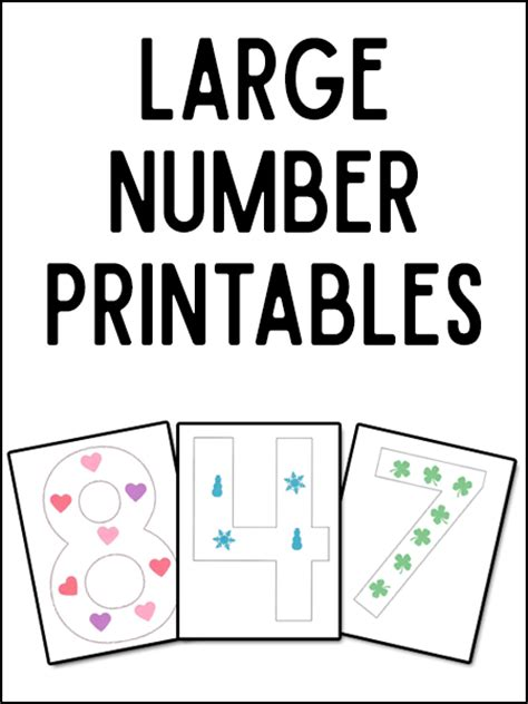 printable numbers big large numeral printables and more prekinders