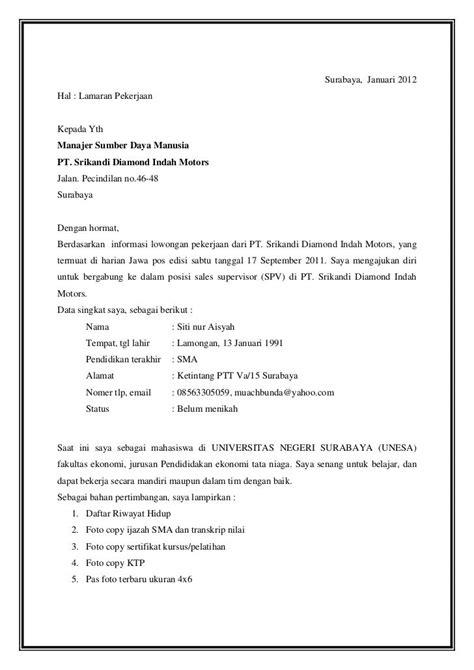 Contoh Cover Surat Lamaran Kerja by Contoh Surat Lamaran Kerja Supervisor Ben Contoh