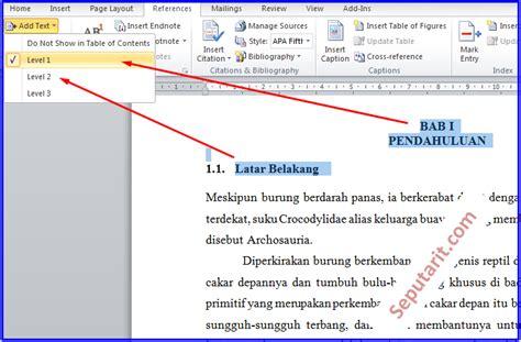 cara membuat daftar isi dan halaman di word 2010 cara cepat membuat daftar isi makalah otomatis di