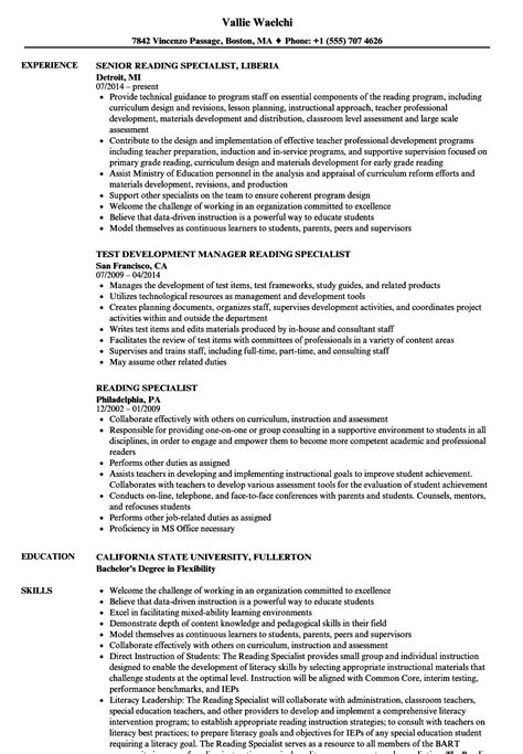 Resume Specialist by Reading Specialist Resume Sles Velvet