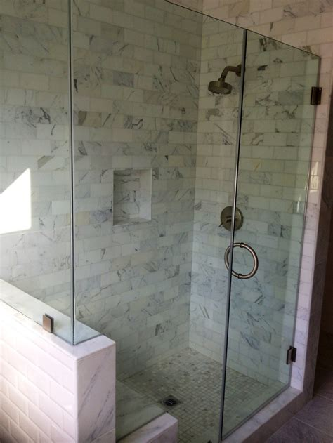 frameless shower glass door  cut   bench