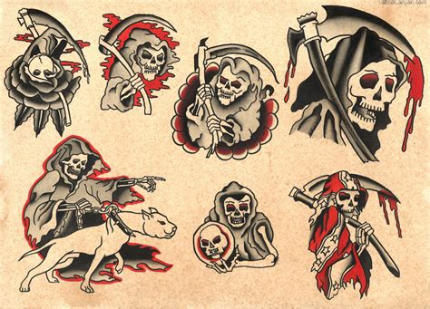 classic tattoos designs traditional grim reaper designs