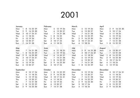 Calendar For 2001 Vintage Calendar Of Year 2001 With All Months Stock
