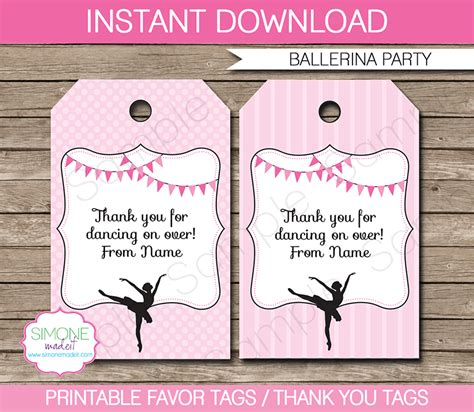 thank you card template for birthday giveaways ballerina favor tags thank you tags birthday